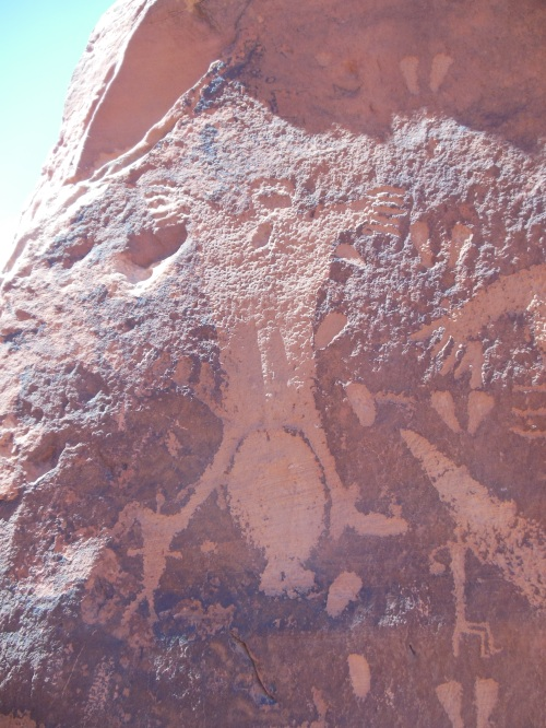 "The birthing rock- my picture isn't the best, but this petroglyph seems to show a breach position birth.  Some readers may remember that I'm interested in ""traditional"" positions for giving birth, so I found these depictions particularly interesting."