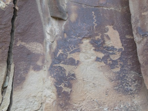 """Petroglyphs carved into """"desert varnish"""", which according to the river guides (and wikipedia) is at least partially made of manganese."""