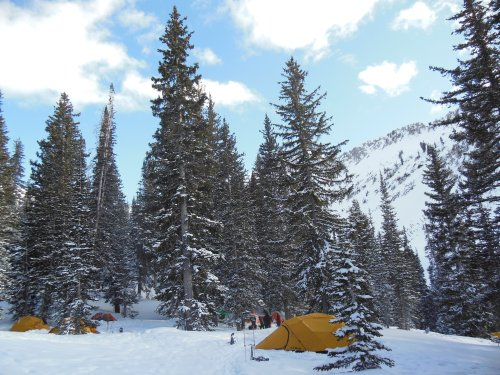 Our camp was quite impressive- 7 tents, a double kiva with dug out benches and tables beneath, and a kitchen dug into the snow pack.