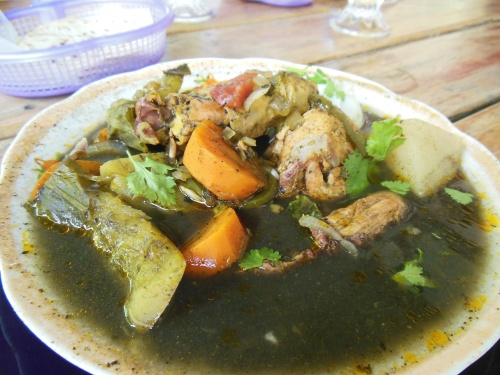 Chimole- a traditional Belizian dish. It is made black by a spice paste that includes charred chilis.