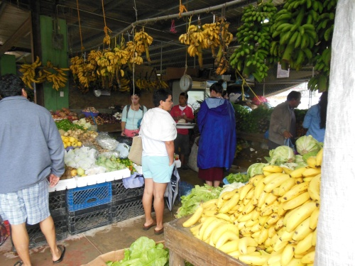 A traditional produce stall at the market.