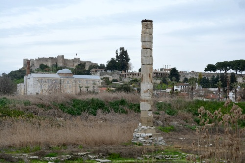 The lone (massive) column at the Temple of Artemis- one of the seven wonders of the ancient world.