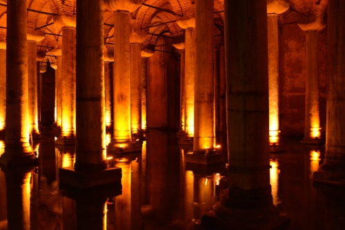 Basilica Cistern- This massive cistern used to be an important water source for the city and was filled by aquaducts (today it holds only rain water that trickles through the roof). Built between the third and fourth century, and with massive structures built on the ground above it, the cistern is a real marvel.