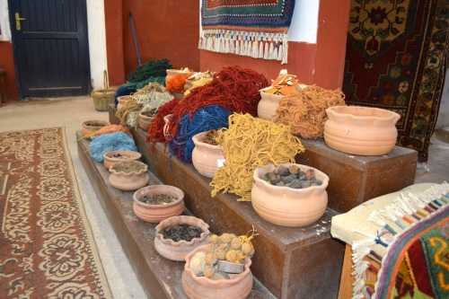 Wool colored with traditional vegetable dyes.