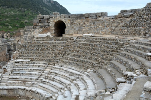 This is the one of the theaters at Ephesus.  These are at all the ancient sites and it should come as no surprise that the acoustics are excellent.