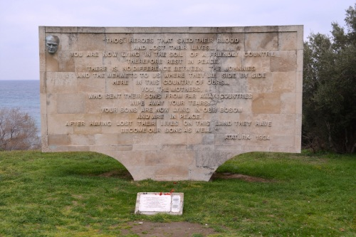 Strong words from a great leader (Ataturk) on a memorial at Gallipoli.