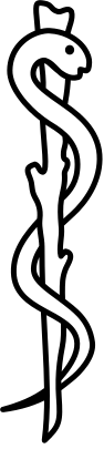 An appropriate medical symbol, the rod of Asclepius.