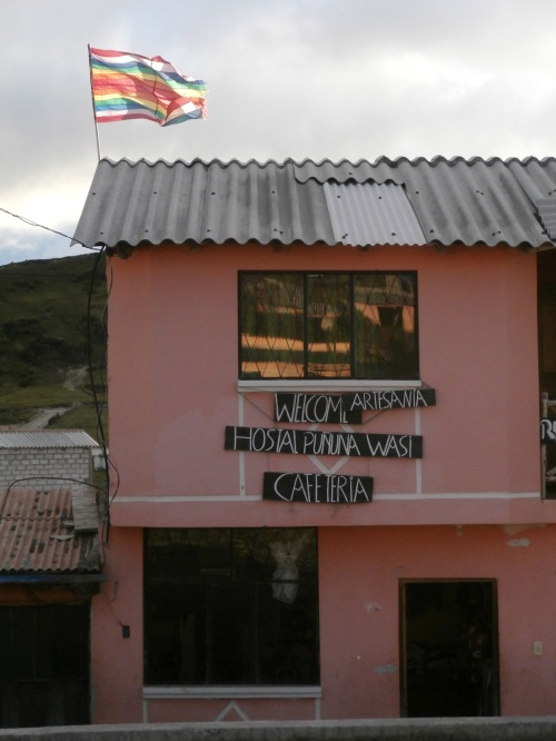 One of the many hostels in Quilotoa,flying the Incan flag.