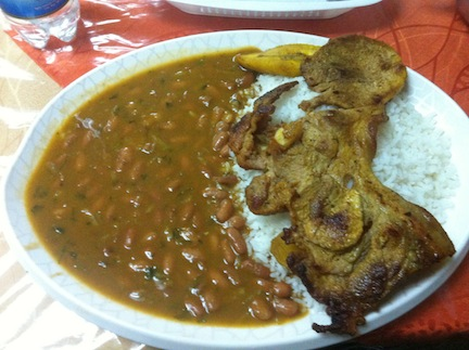 This plate of Menestras (beans or lentils) with pork cost me ~$3 just around the corner from the pricey Plaza Foch.