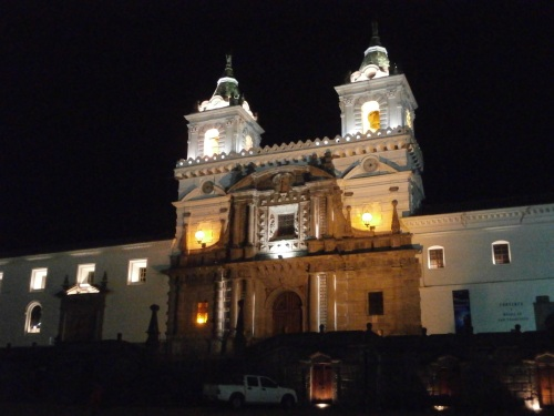 One of the many beautiful colonial period building lit up in Old Quito.