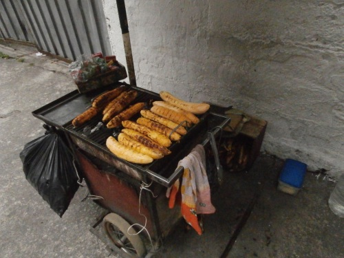 Plantains grilled on the street.